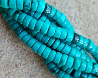 "Natural Sinkiang Turquoise Flat Round Heishi Beads, Dyed and Heated 4 x 2mm - 15.5"" Strand"