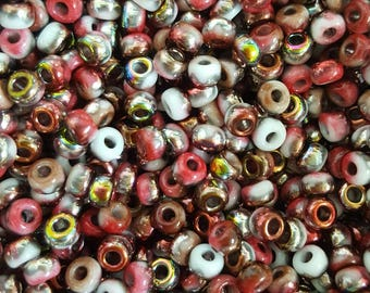 6/0 Japanese/Czech Unions 6/0 Japanese Seed Beads - White Opaque Funky Wine  06-402-95201 - 20 grams