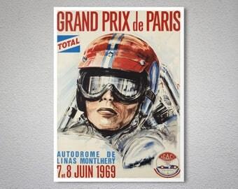 Grand Prix de Paris, 1969 Vintage Grand Prix Poster - Poster Paper, Sticker, Canvas Print / Gift Idea