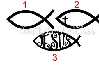 Jesus Fish Decal- 3 Design Choices! | Christian Fish | Vinyl Decal | YETI | Car Decal | Window Decal | Phone Decal | Spiritual Decal