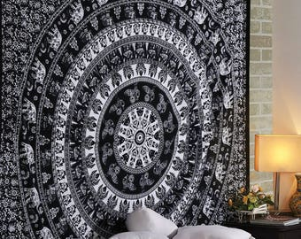 """Indian Mandala Wall Hanging Tapestry Bed Sheet Cover Black & White Elephants 90"""""""