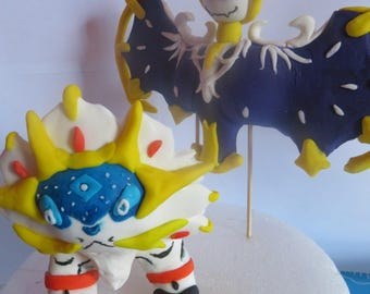 Lunala And Solgaleo pokemon cake toppers from pokemon sun and moon. 4inches.