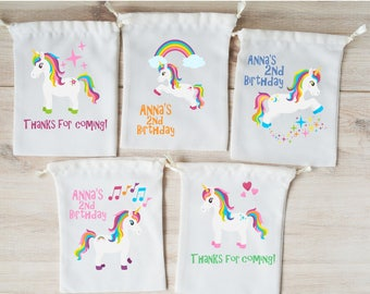 Unicorn Favor Bags Unicorn Party Favors Personalized Party Gift Bags Loot Bags Goodie Bags Drawstring Pouch Birthday Party Favors