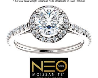 "PLATINUM 1.50 Carat Round ""Diamond Cut"" Colorless Neo Moissanite Halo Ring"