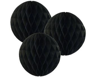 Just Artifacts Tissue Paper Honeycomb Ball (Set of 3, Black)