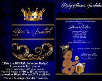 Baby shower invitation, Royal Baby Shower Invitations, Prince Baby Shower Invitations, Blue Baby Shower Invitations, Blue and Gold,