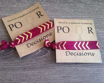 POUR decisions wine hair tie set
