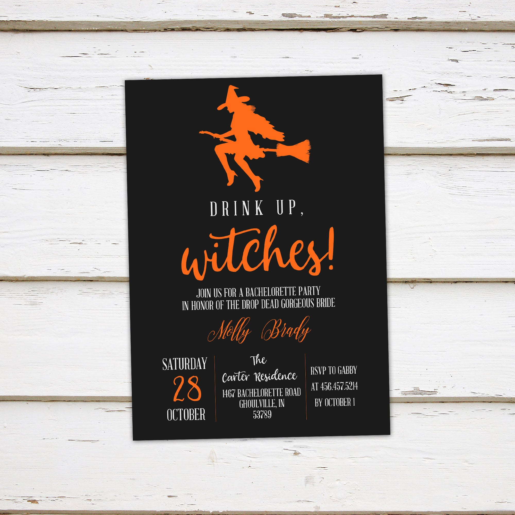 Printable Halloween Bridal Shower Invitation, Halloween ...