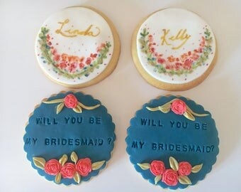 Will you be my bridesmaid personalized cookie - set of 2 cookies(for bridesmaid, flower girl, maid of honor, Mother's Day, birthday gift)