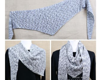 Silver gray triangle scarf, openwork wool shawl, gray and white kerchief style scarf