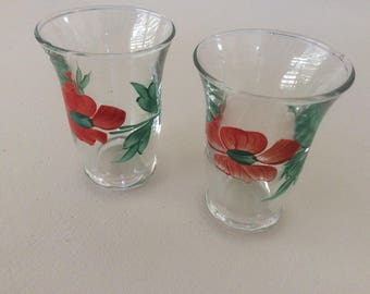 Vintage Juice Glasses, with hand painted flowers