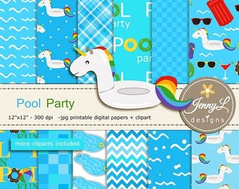 50% OFF Pool Swimming Digital Papers & clipart SET, Summer Pool Floaters, Beach Ball, Unicorn Sunglass,  for Digital Scrapbooking, Birthday,