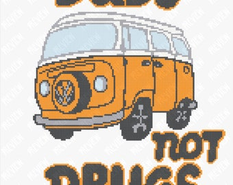 Dubs Not Drugs - Camper Van - Funny - Counted Cross Stitch PDF Pattern - Instant Download