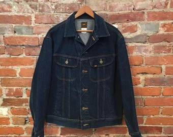 Vintage Lee Denim Jacket Dark Indigo Lee Riders Denim Made in USA Medium 40 Regular