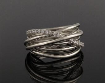 Engagement ring, Diamond engagement ring, Anniversary ring, Unique diamond ring, Diamond promise ring, Stacked diamond ring