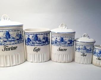 Vintage ceramic kitchen canisters | Etsy