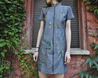 Hand embroidered denim dress, made of 100% organic cotton
