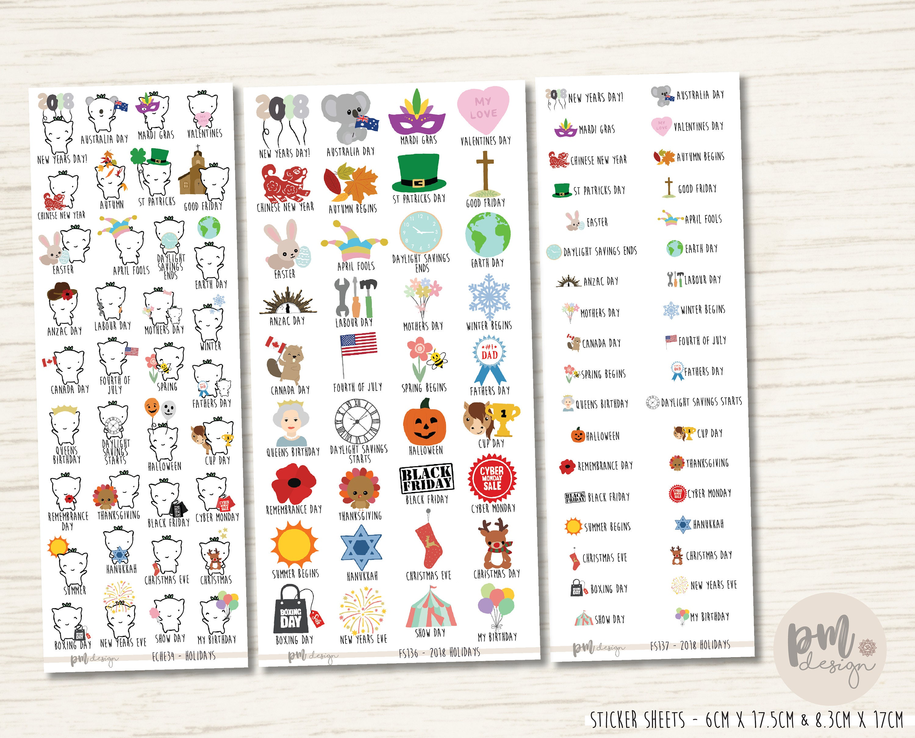 2018 and observances planner stickers eche34