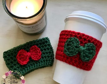 "The ""Holiday Bow"" Cozie / Cozies / Coffee Cozie / Tea Cozie / Tumbler Cozie / Crochet Cozie"