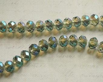 6 green faceted iridescent Crystal Swarovski 10 mm