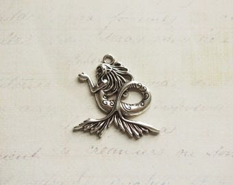 Big majestic 30x29mm silver Mermaid charm