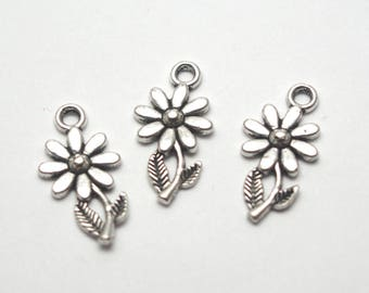 4 silver-plated 19x10mm sunflower charms