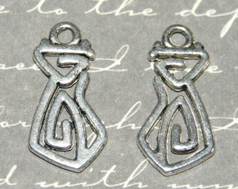 2 silver-plated 10x20mm spiral cat charm
