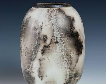 Horse Hair Raku Pottery, Terra Sigallata, White, Black, Polished, Wheel Thrown, Hand Thrown,
