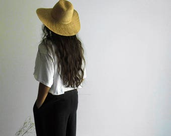 90s Thin Summer Straw Wide Brim Hat