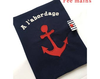 Health book in Navy blue cotton sailor theme with anchor
