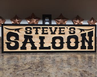 Old West Saloon Sign Man Cave Sign Brew House Rustic Bar Sign Father's Day Gift Husband Boyfriend Gift Custom Home Bar Sign Rustic Wood Sign