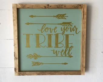 "Love Your Tribe Well - Framed Wood Sign Wall Art  - 13.5"" x 13.5"" - Aqua and Gold"