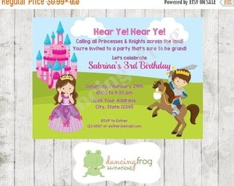 SALE Princess and Knight Birthday Invitation - Custom Printed Princess Knight Birthday Invitation - by Dancing Frog Invitations