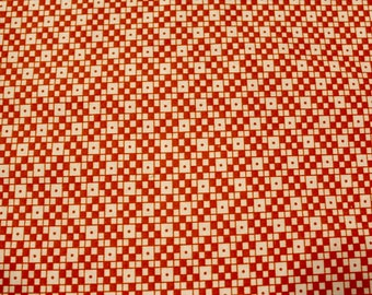 """Orange and White Checkered Fabric, End Bolt 25 1/2 inches (5/8 yard plus 3"""") 100% Cotton Quilt Shop Fabric"""