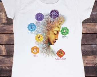Womens T-Shirt Buddha Chakra OM -Know, feel, strive, love- Symbols Geometric Design TS904