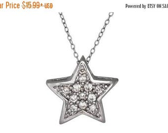 ON SALE Sterling Silver .925 Star Pendant with Cubic Zirconia (CZ) Stones   Made in Usa