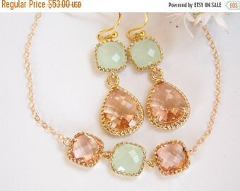 SALE Bridesmaid Jewelry, Peach and Mint Earrings and Bracelet Set, Blush and Soft Green, Green, Gold Filled, Wedding Set, Dangle, Bracelet S