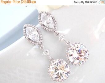 SALE Wedding Jewelry, Silver, Cubic Zirconia, Bridal Jewelry, Bridal Earrings, Bride Earrings,Bridesmaid Earrings, Dangle, Bridesmaid Gifts,