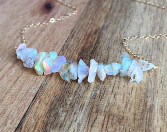 Raw Opal Necklace - Opal Necklace - Opal Jewelry - Opal - Natural Opal Necklace - Welo Opal - Raw Opal - October Birthstone