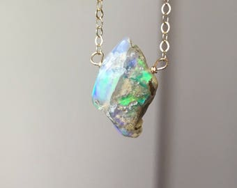 Raw Opal Necklace - Opal Jewelry - Opal - Natural Opal Necklace - Raw Opal - October Birthstone