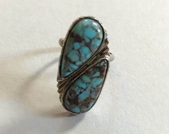 Vintage Adjustable Southwestern Turquoise Ring