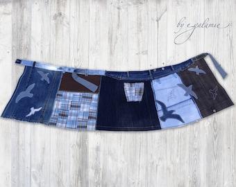 Upcycled Patchwork Wrap Skirt, Appliqué Artsy Wrap Skirt, Wearable Art, Funky Skirt, Sustainable, Ecocloth, Boho, L-XL, Seagulls, Denim