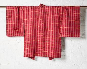 Vintage Japanese Silk Kimono Jacket Haori Red with Tartan Pattern