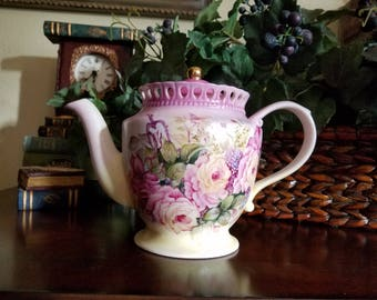 Hand painted Floral Tea Pot, Roses in shades of pinks w/ accent flowers