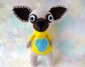 Dog crochet, Amigurumi dog, knitted animal, plush toy, crochet toy, Stuffed Animal, small dog, yellow dog, symbol year 2018, knitted dog