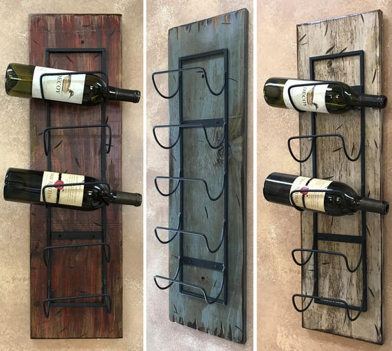 wine rack wall wood 5 bottle holder with metal home decor. Black Bedroom Furniture Sets. Home Design Ideas