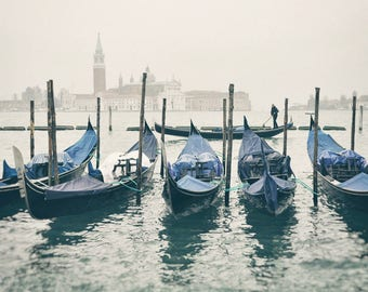 Venice Photography, Gondola Boats, Venice Italy, Travel Photography, Europe Decor, Fine Art Print, fog, canal, blue, neutral, wall art