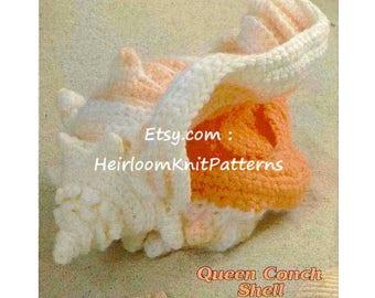 Crochet Queen Conch Shell Rare Vintage Pattern PDF, Crochet By The Sea, Stuffed Toy Crochet Pattern Instant Digital download PDF - 1040