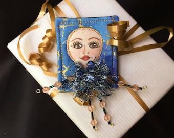 Goddess pin, Diva Pin, Fabric pin, Quilted pin, fiber art jewelry, Art  pin, Art Quilt Pin, Scrappy Diva, Fiber Art Pin, novelty Pin #8