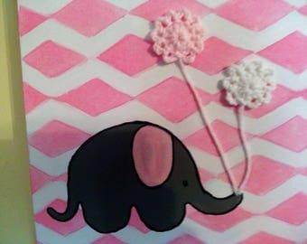 Nursery Elephant Painting with Crochet Flowers